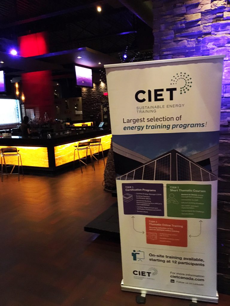 CIET Canada banner at a CIET Connect event in Toronto, bar stools in the background