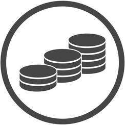 Grey icon of 3 stacks of coins in a circle frame